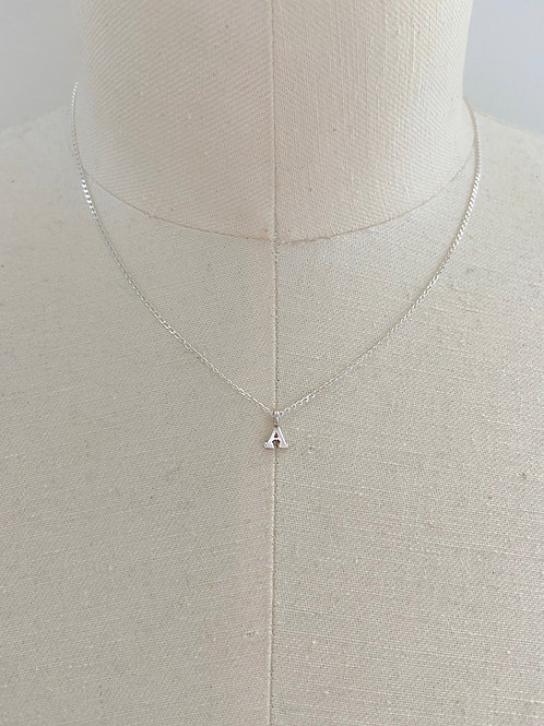 Letter A Small Charm Sterling Silver Chain Necklace