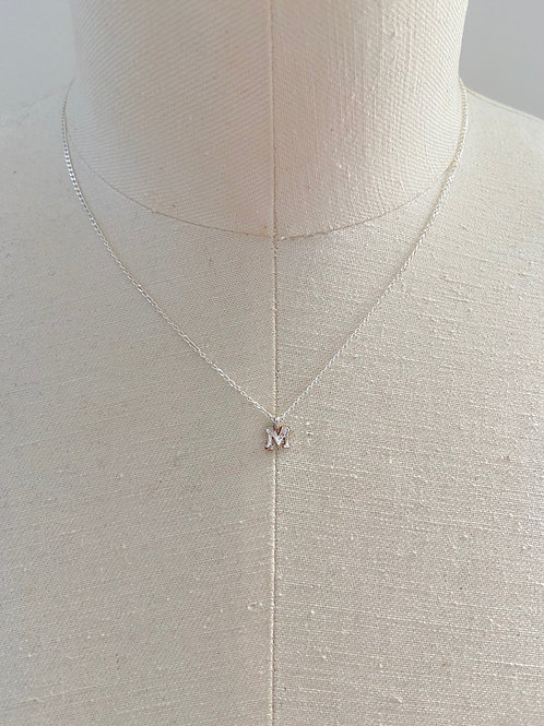 Letter M Small Charm Sterling Silver Chain Necklace