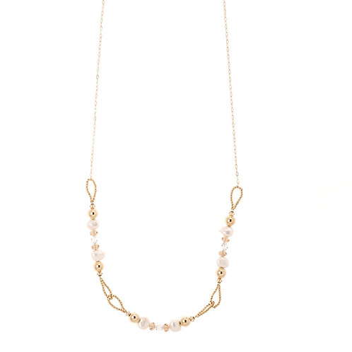 Celia Gold Pearl Crystal Necklace