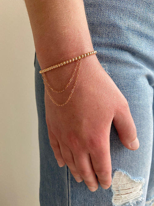Franca Mini Beaded Rose Gold  Draped Bracelet