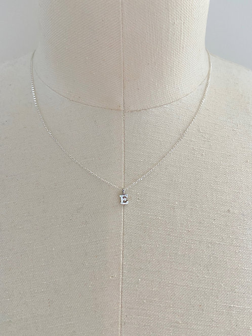 Letter E Small Charm Sterling Silver Chain Necklace