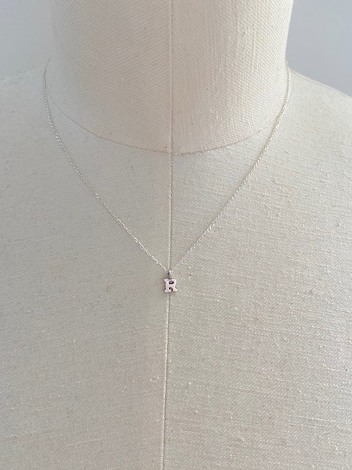 Letter R Small Charm Sterling Silver Chain Necklace