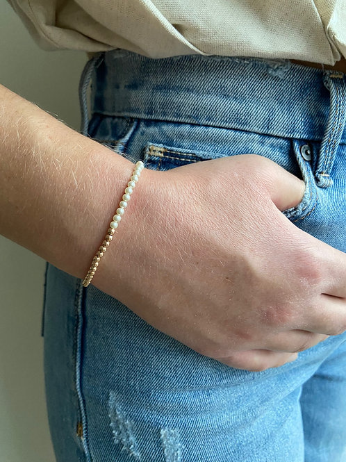 Franca Mini Pearl Rose Gold Beaded Bracelet