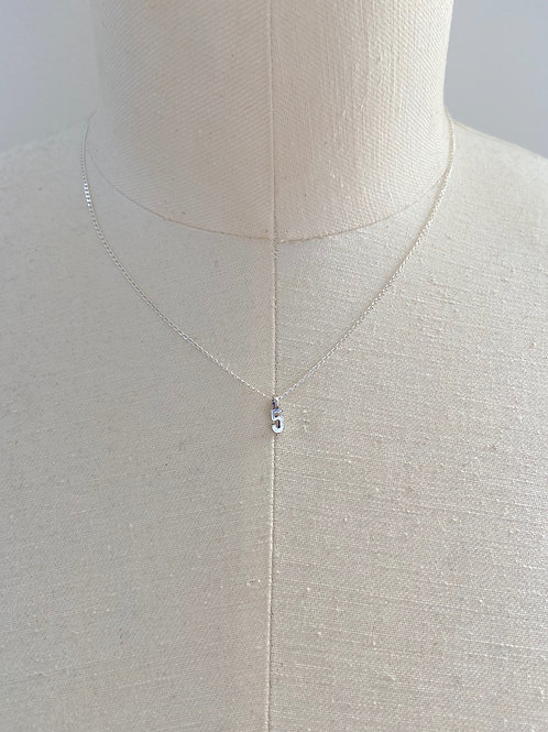 Number 5 Small Charm Sterling Silver Chain Necklace