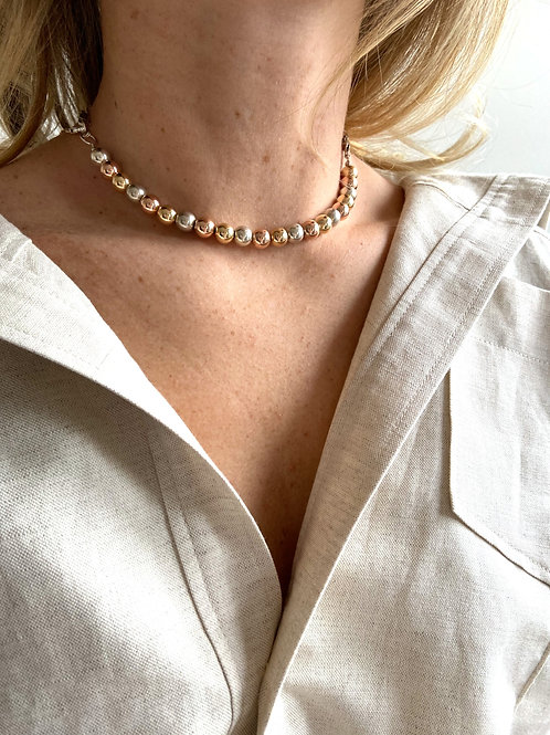 Ginnette Tri-metal Beaded Necklace