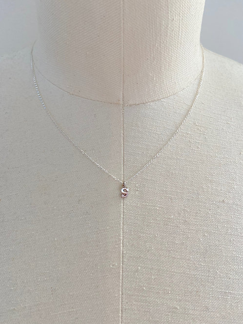 Letter S Small Charm Sterling Silver Chain Necklace