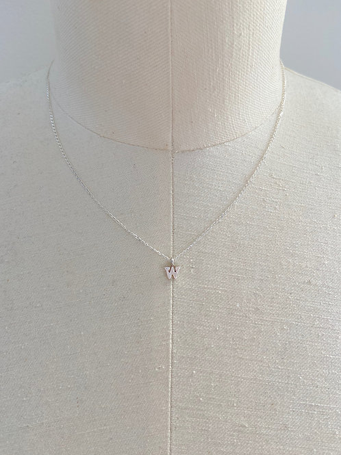 Letter W Small Charm Sterling Silver Chain Necklace