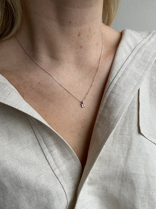 Letter B Small Charm Sterling Silver Chain Necklace