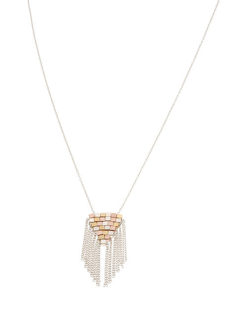 Coco Woven Fringe Tri-Metal Necklace