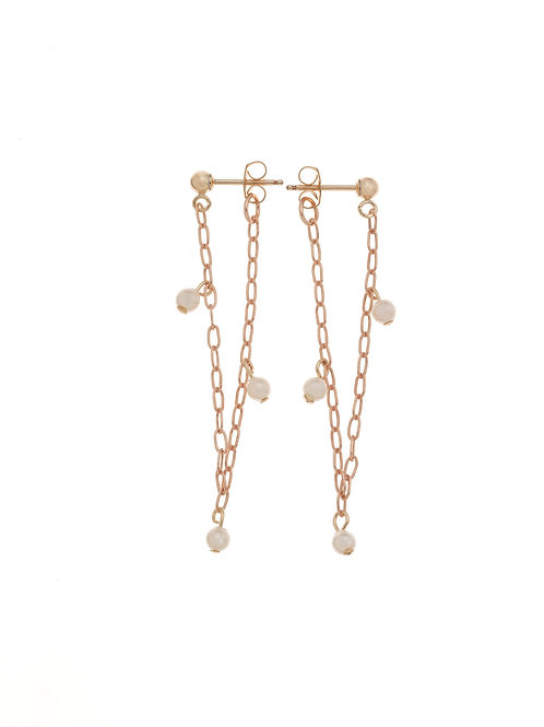 Hazelle Rose Gold Pearl Huggie Earrings