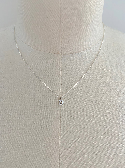 Letter D Small Charm Sterling Silver Chain Necklace