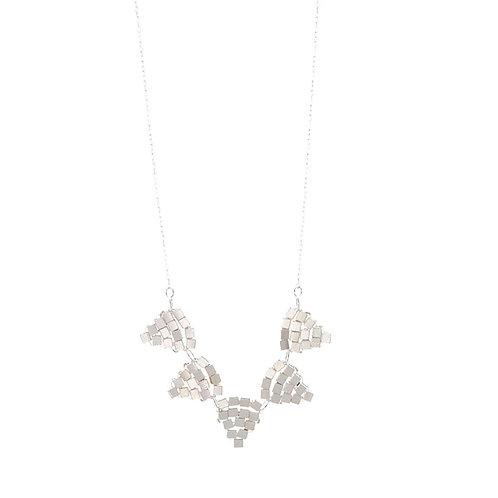 Balara Silver Beaded Triangle Necklace