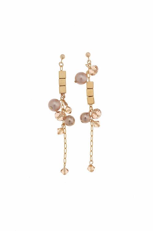 Francesca Gold Pearl Crystal Earrings