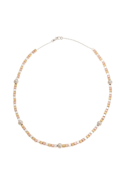 Leandra Tri-Metal Beaded Necklace