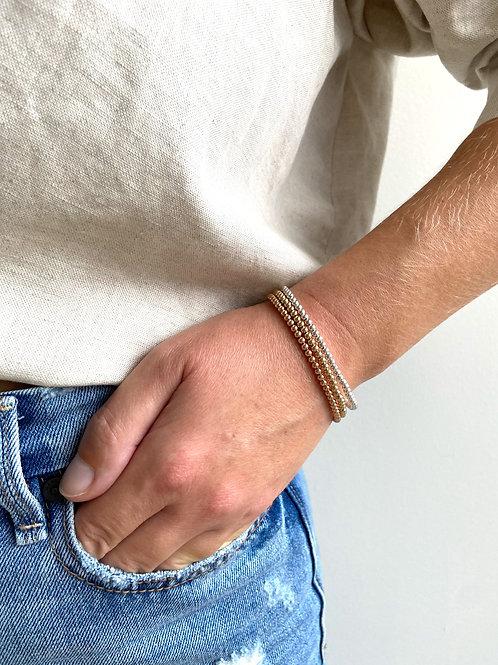 Franca Mini Beaded Tr-Metal Bracelet - 3 Strands