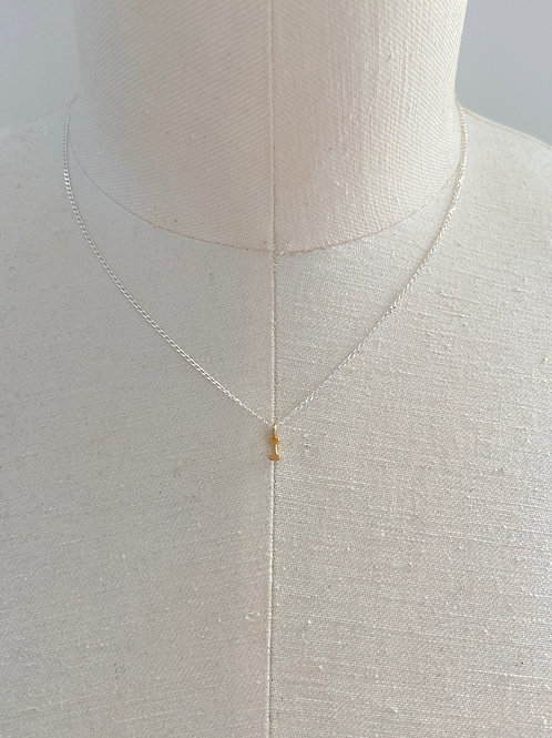Letter I Small Gold Block Charm Sterling Silver Chain Necklace