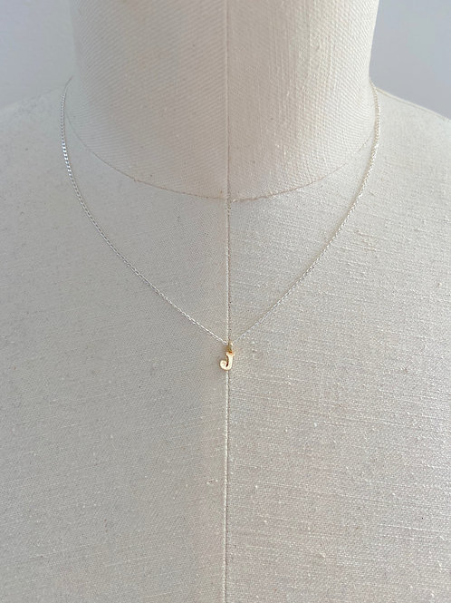 J Small Gold Charm Sterling Silver Chain Necklace