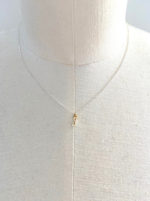 J Small Cursive Gold Charm Sterling Silver Chain Necklace
