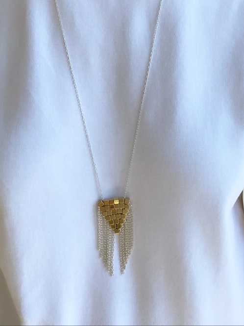Coco Woven Fringe Gold Silver Necklace
