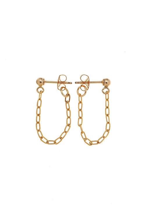 Halle Gold Huggie Chain Earrings
