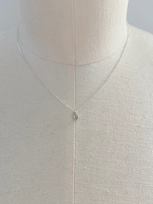 Letter O Small Charm Sterling Silver Chain Necklace