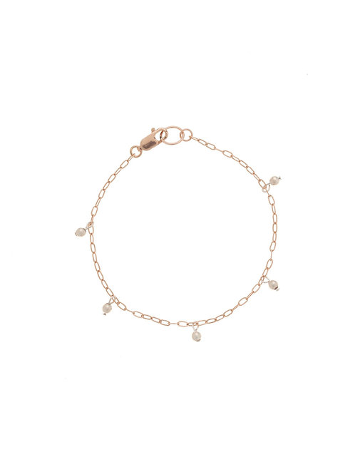 Whitney Rose Gold Pearl Chain Bracelet