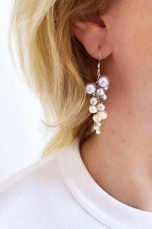 Giannia Grape Shaped Pearl Earrings -Lavender