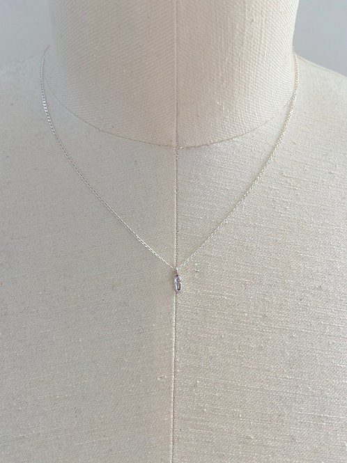 Number 6 Small Charm Sterling Silver Chain Necklace