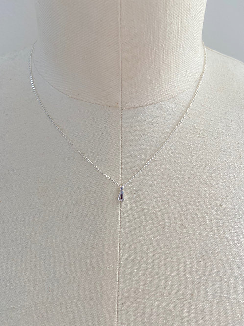 Number 4 Small Charm Sterling Silver Chain Necklace
