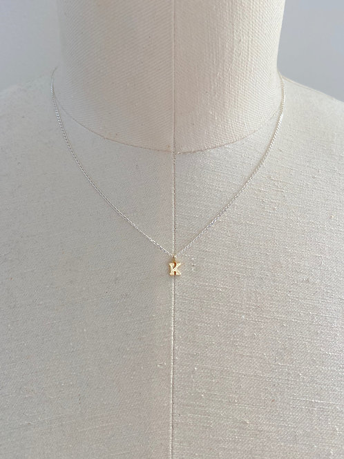 K Small Gold Charm Sterling Silver Chain Necklace