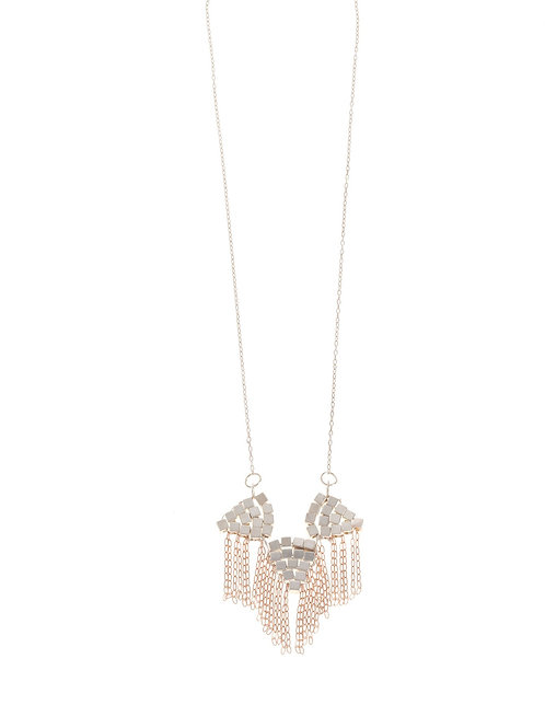 Balara Silver Rose Gold Fringe Necklace