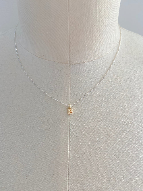 Letter B Small Gold Block Charm Sterling Silver Chain Necklace
