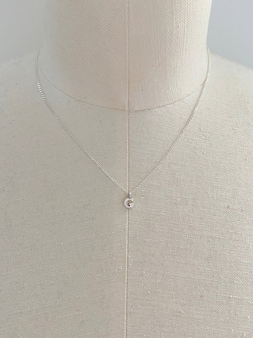 Letter G Small Charm Sterling Silver Chain Necklace