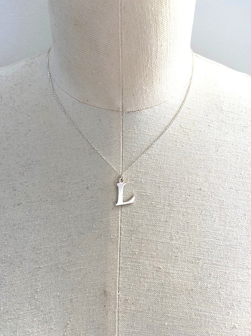 Letter L Large Sterling Silver Charm Necklace