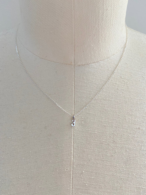 Number 3 Small Charm Sterling Silver Chain Necklace