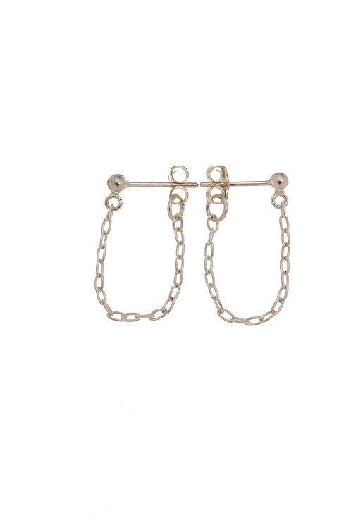 Halle Sterling Silver Huggie Chain Earrings