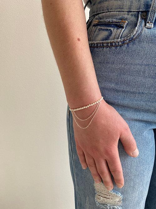 Franca Mini Sterling Silver Pearl Draped Bracelet