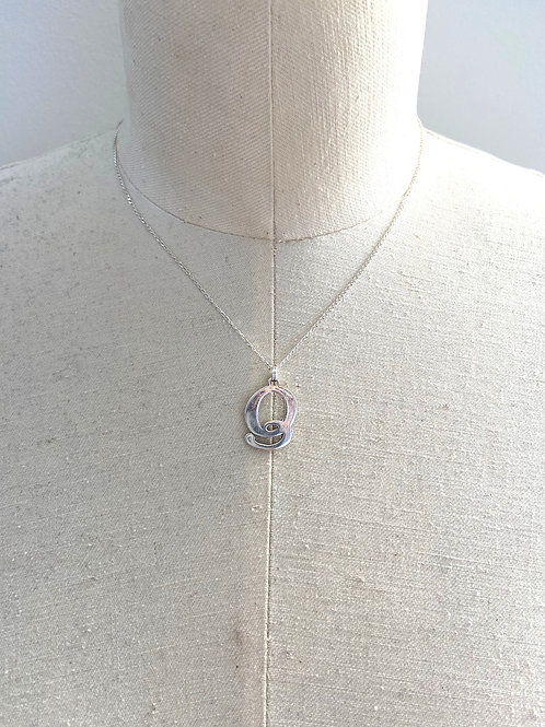 Q Large Sterling Silver Charm Necklace