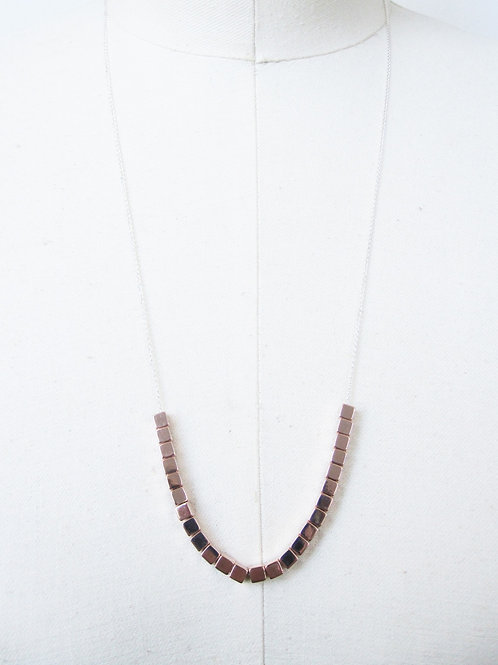 Cate Rose Gold Brass Beaded Necklace