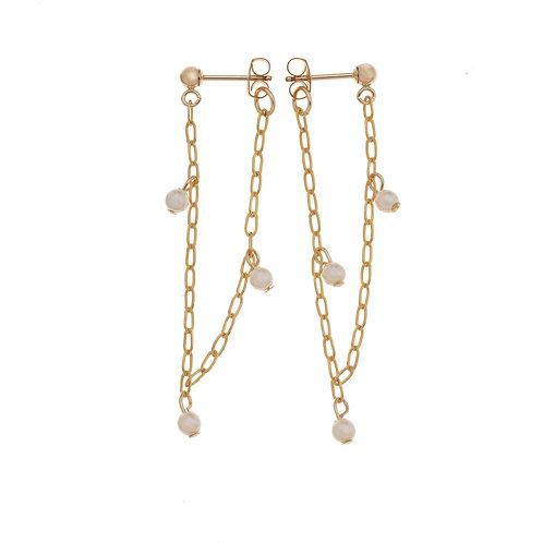 Hazelle Gold Pearl Huggie Earrings