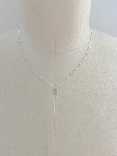 Letter C Small Charm Sterling Silver Chain Necklace
