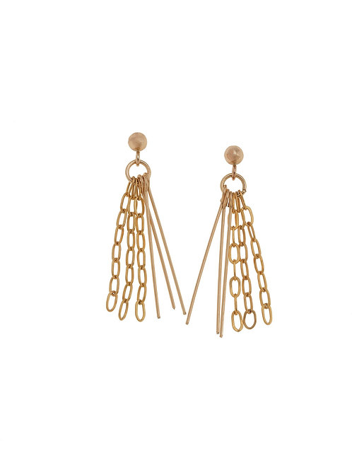 Nora Gold Tassel Chain Earrings