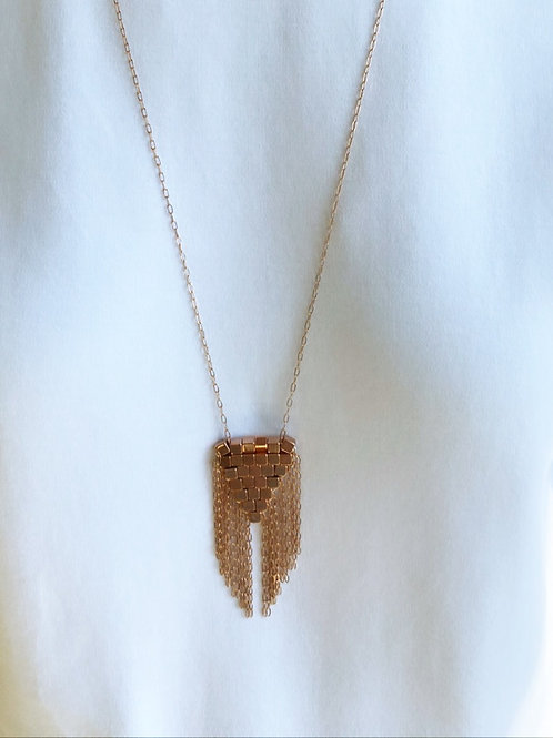 Coco Woven Fringe Rose Gold Necklace