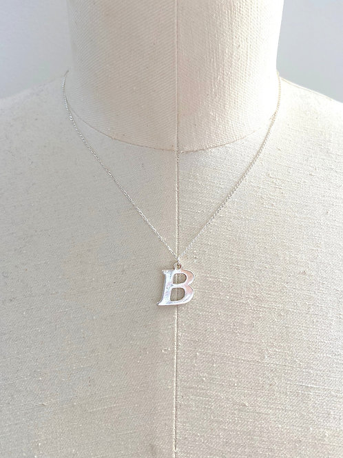 B Large Sterling Silver Charm Necklace
