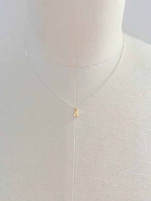 Letter A Small Gold Block Charm Sterling Silver Chain Necklace