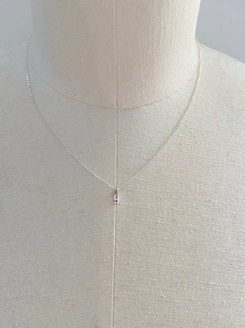 Number 9 Small Charm Sterling Silver Chain Necklace