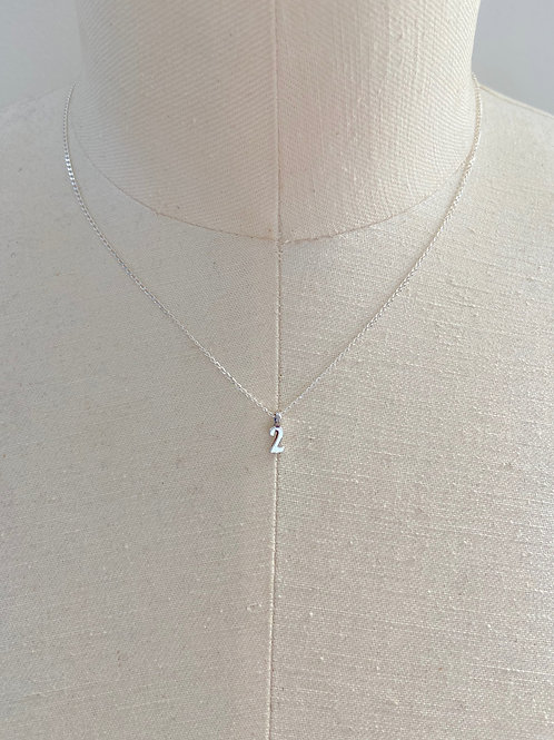 Number 2 Small Charm Sterling Silver Chain Necklace