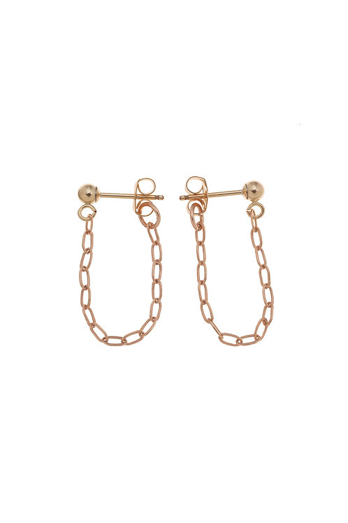 Halle Rose Gold Huggie Chain Earrings