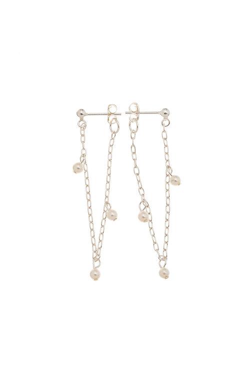 Hazelle Sterling Silver Pearl Huggie Earrings