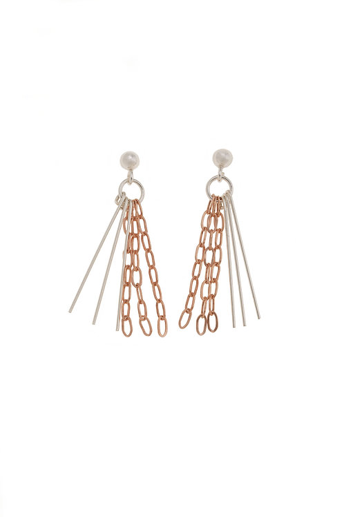 Nora Rose Gold Tassel Chain Earrings